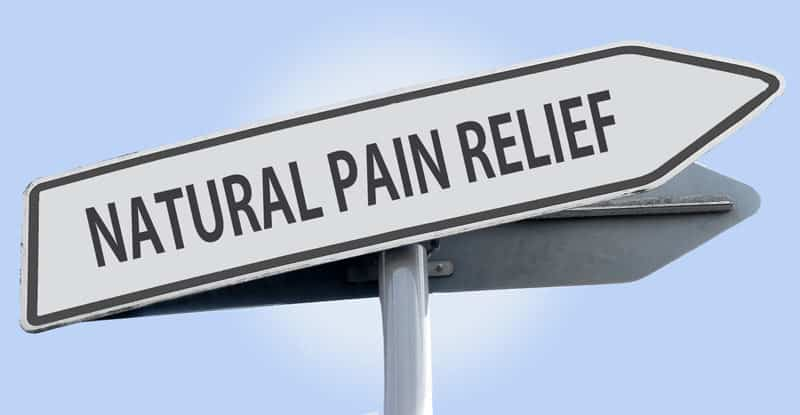 Road sign reading natural pain relief