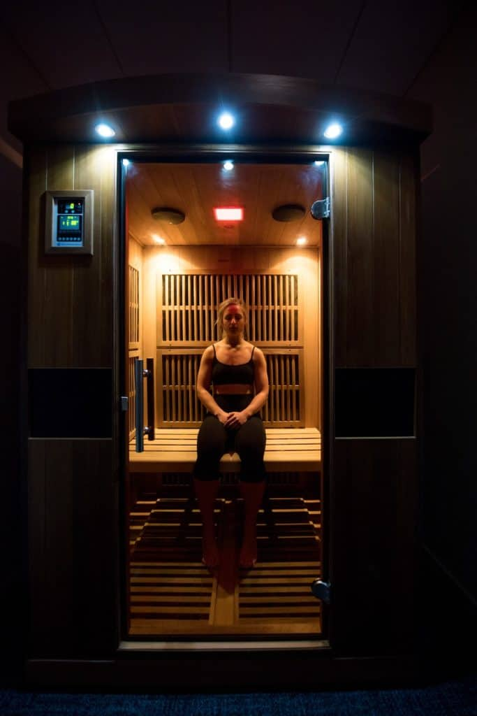Woman in Infrared Therapy Sauna