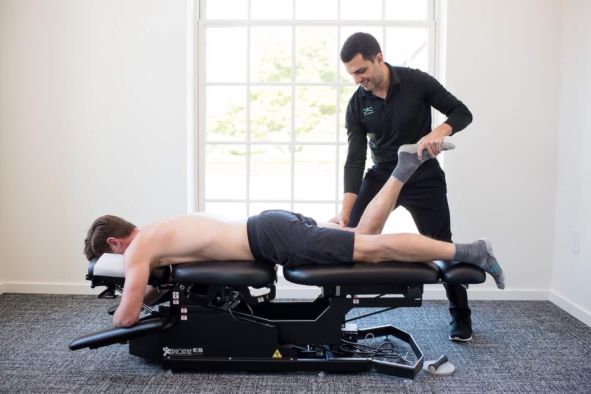 Patient undergoing chiropractic care